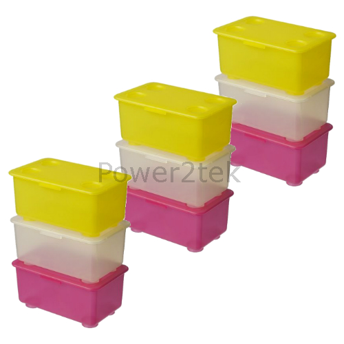 Childrens Kids Bedroom Furniture Set Toy Chest Boxes Ikea: 9 X IKEA GLIS Plastic Storage Box Set With Lid Office Kids